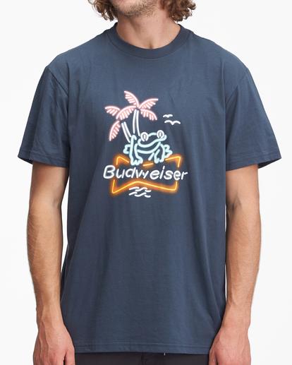 0 Budweiser Frog Neon Short Sleeve T-Shirt Blue ABYZT01025 Billabong