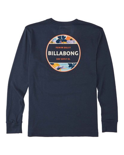 1 Boys' Rotor Long Sleeve T-Shirt Blue B4053BRO Billabong