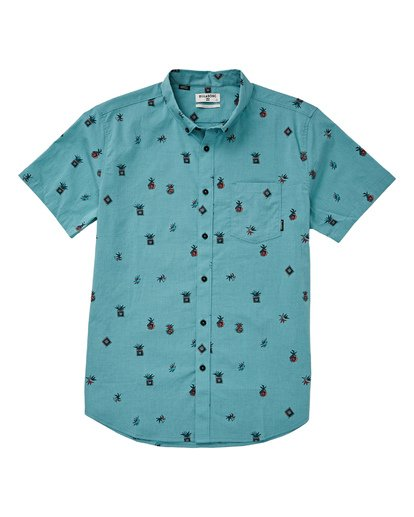1 Boys' Sundays Mini Short Sleeve Shirt Blue B503TBSM Billabong