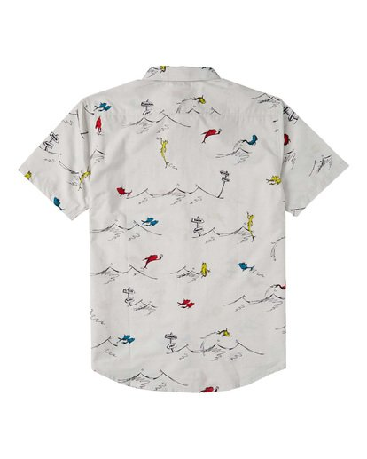 1 Boys' One Fish Two Fish Short Sleeve Shirt White B5173BOF Billabong