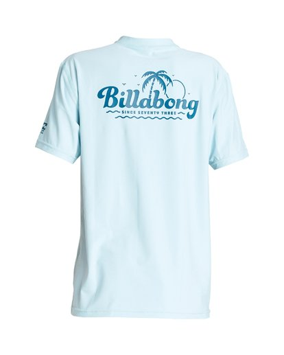1 Boys' Beach Script Loose Fit Short Sleeve Rashguard Blue BR01VBBE Billabong