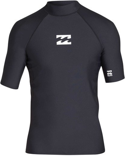 0 Boys' All Day Wave Performance Fit Short Sleeve Rashguard Black BR12TBAL Billabong