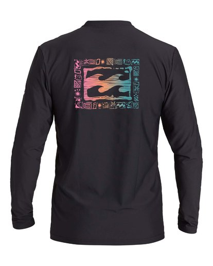 1 Boys' Crayon Wave Loose Fit Long Sleeve Rashguard Black BR593BCW Billabong