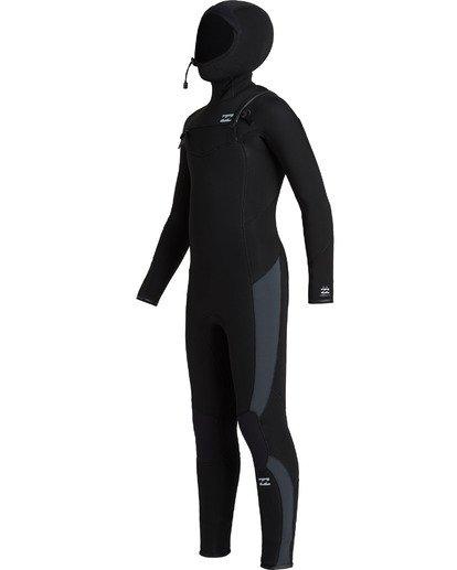 2 Boys' 5/4 Absolute Hooded Chest Zip  Wetsuit Black BWFU3BH5 Billabong
