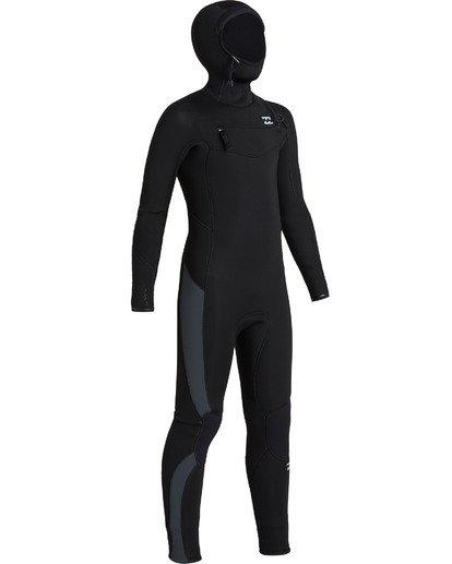 3 Boys' 5/4 Absolute Hooded Chest Zip  Wetsuit Black BWFU3BH5 Billabong