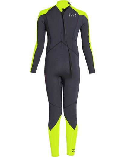 4 Boys' 3/2 Furnace Absolute Back Zip GBS Long Sleeve Fullsuit Yellow BWFUTBA3 Billabong