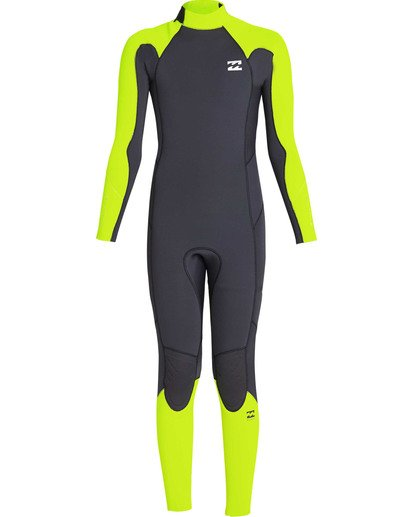 1 Boys' 3/2 Furnace Absolute Back Zip GBS Long Sleeve Fullsuit Yellow BWFUTBA3 Billabong