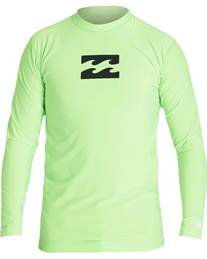 0 Boys' All Day Wave Performance Fit Long Sleeve Rashguard Green BWLYJICL Billabong