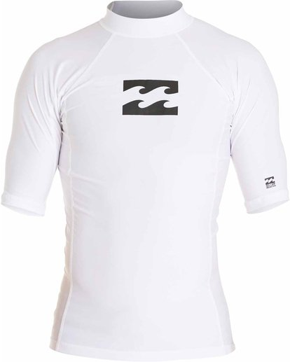 0 Boys' All Day Wave Performance Fit Short Sleeve Rashguard White BWLYJICS Billabong