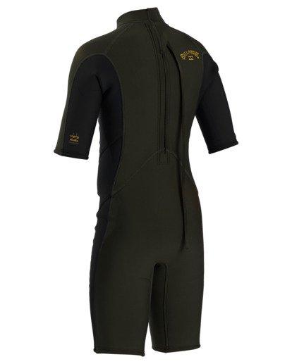3 2/2 Boy's Absolute Back Zip Flatlock Short Sleeve Spring Wetsuit Green BWSP3BAB Billabong
