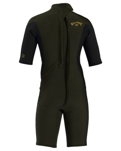 4 2/2 Boy's Absolute Back Zip Flatlock Short Sleeve Spring Wetsuit Green BWSP3BAB Billabong