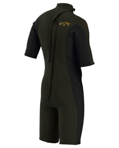 5 2/2 Boy's Absolute Back Zip Flatlock Short Sleeve Spring Wetsuit Green BWSP3BAB Billabong