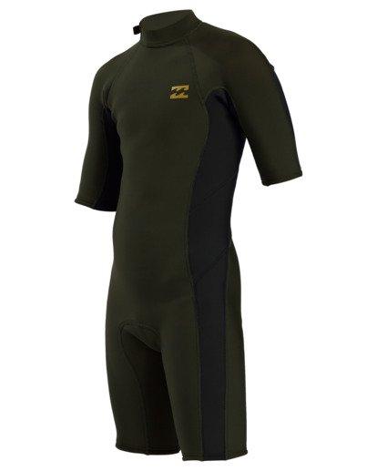 0 2/2 Boy's Absolute Back Zip Flatlock Short Sleeve Spring Wetsuit Green BWSP3BAB Billabong