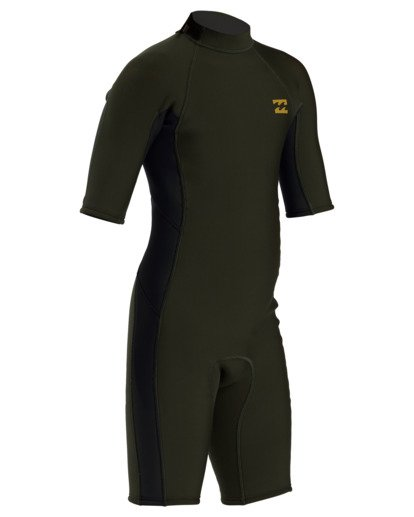 2 2/2 Boy's Absolute Back Zip Flatlock Short Sleeve Spring Wetsuit Green BWSP3BAB Billabong