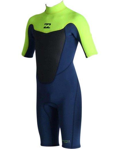 0 202 Boys Absolute Back Zip Short Sleeve Springsuit Green BWSPJABS Billabong