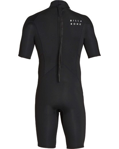 4 Boys' 2mm Absolute Comp Short Sleeve Flatlock Springsuit Black BWSPTBAB Billabong