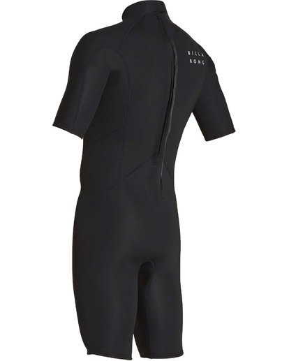 5 Boys' 2mm Absolute Comp Short Sleeve Flatlock Springsuit Black BWSPTBAB Billabong