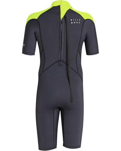 4 Boys' 2mm Absolute Comp Short Sleeve Flatlock Springsuit Yellow BWSPTBAB Billabong