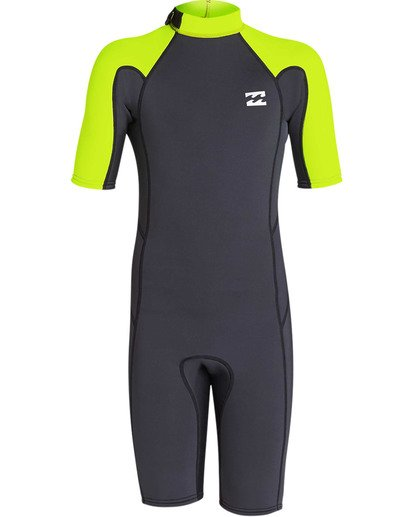 1 Boys' 2mm Absolute Comp Short Sleeve Flatlock Springsuit Yellow BWSPTBAB Billabong