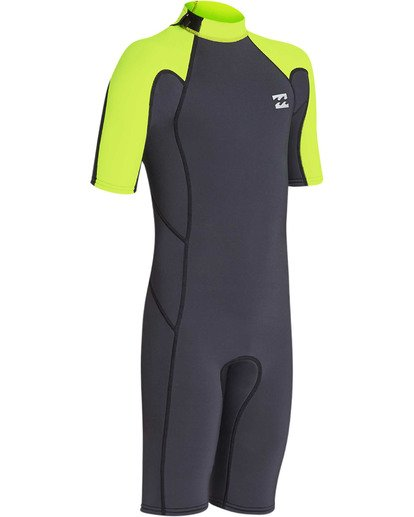 2 Boys' 2mm Absolute Comp Short Sleeve Flatlock Springsuit Yellow BWSPTBAB Billabong