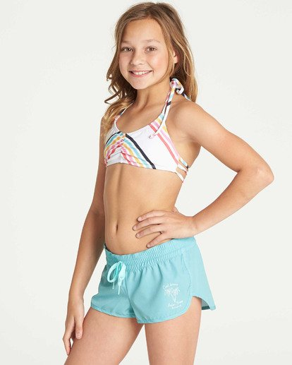1 Girls' Sol Searcher Volley Elastic Waist Boardshort Green G101TBSO Billabong