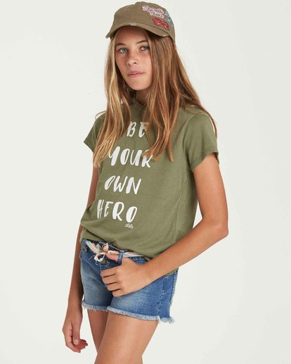 1 Girls' Buttoned Up Denim Short Blue G202QBBU Billabong