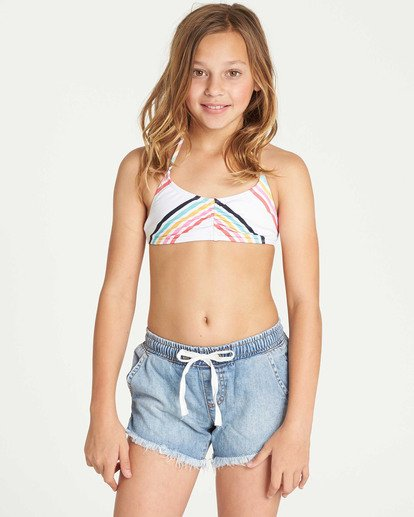 0 Girls' Wild Sun Denim Short Blue G202TBWI Billabong