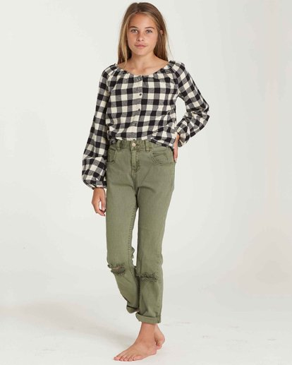 1 Girls' Just Chill Denim Pant Green G304QBJU Billabong