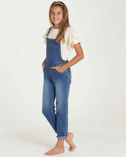 1 Girls' Follow Me Denim Overall Blue G305QBFO Billabong