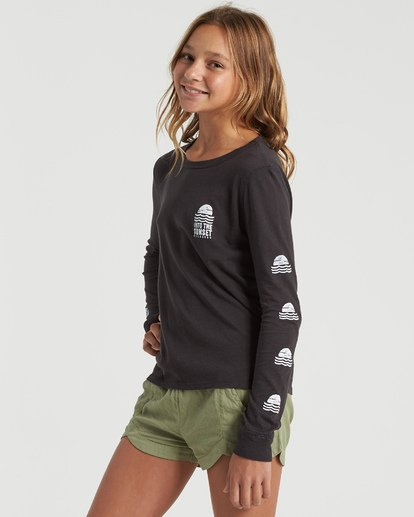 1 Girls' Into The Sunset Long Sleeve T-Shirt Black G4203BIN Billabong