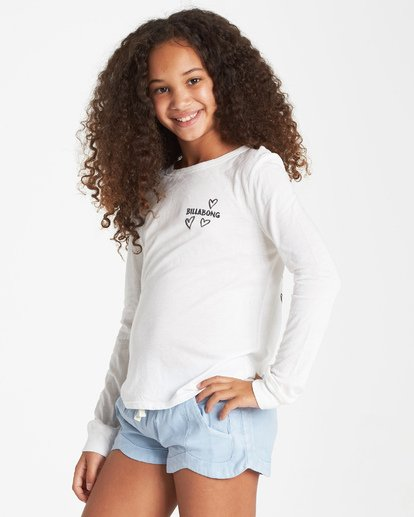 1 Girls' Drifting Hearts Long Sleeve T-Shirt Beige G420VBDR Billabong