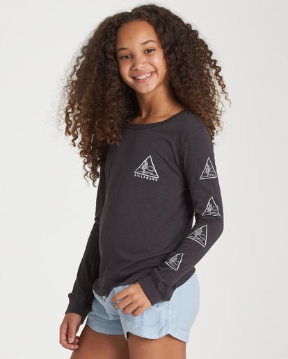 1 Girls' Cactus Sunshine Long Sleeve T-Shirt Black G420WBCA Billabong