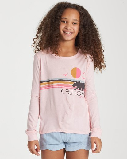 0 Girls' Love The Beach Long Sleeve T-Shirt Grey G420WBLO Billabong