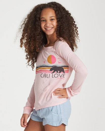 1 Girls' Love The Beach Long Sleeve T-Shirt Grey G420WBLO Billabong