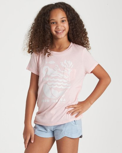 1 Girls' From The Sea T-Shirt Grey G424WBFR Billabong