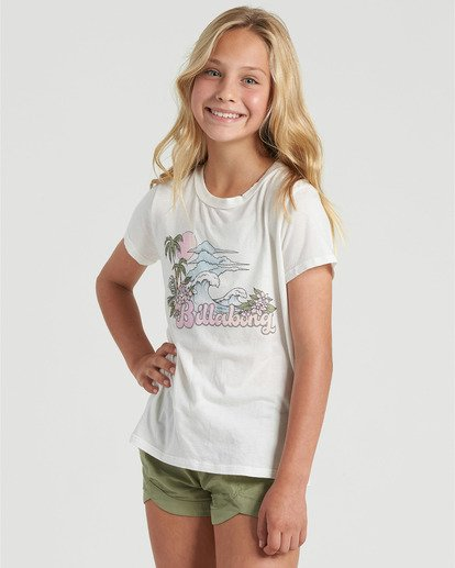 2 Girls' Vintage Postcard T-Shirt White G4843BVI Billabong