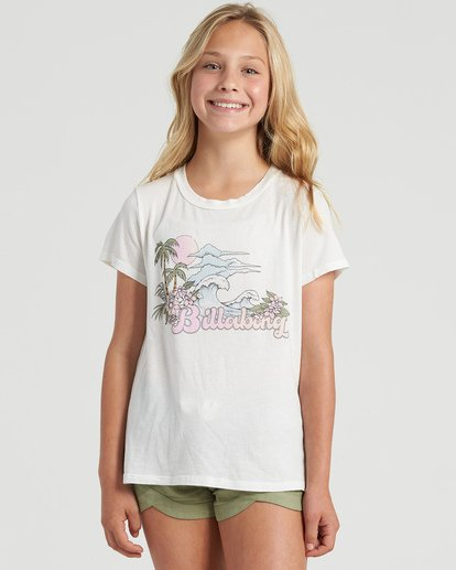 3 Girls' Vintage Postcard T-Shirt White G4843BVI Billabong