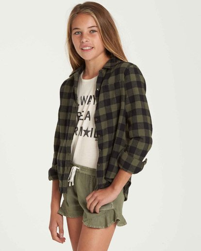 1 Girls' Buttoned Up Top Green G503QBBU Billabong