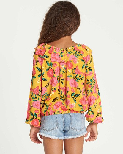 2 Girls' Floral Fields Blouse Grey G504TBFL Billabong