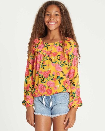 0 Girls' Floral Fields Blouse Grey G504TBFL Billabong