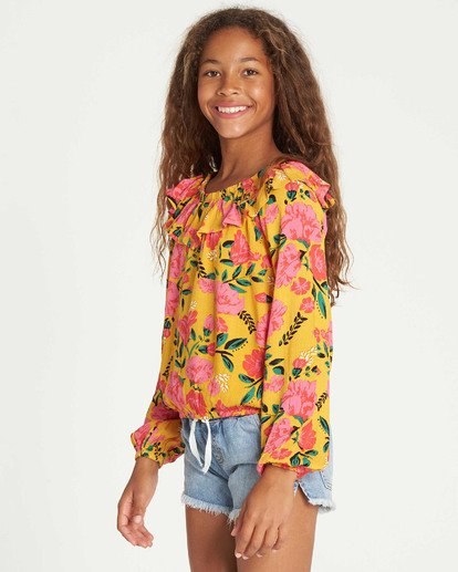 1 Girls' Floral Fields Blouse Grey G504TBFL Billabong