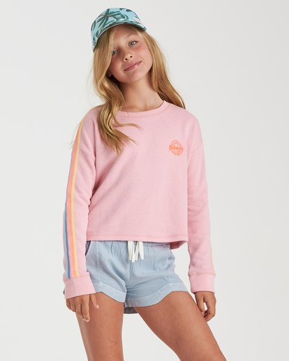 0 Girls' Give Me Stripes Sweatshirt Red G6012BGI Billabong