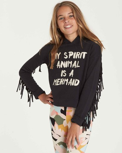 1 Girls' Fringe Watch Hoodie Black G604QBFR Billabong