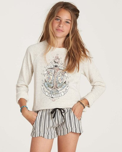1 Girls' Whole Hearted Crew Neck Fleece Grey G605NBWH Billabong