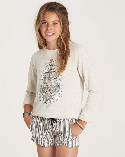 2 Girls' Whole Hearted Crew Neck Fleece Grey G605NBWH Billabong