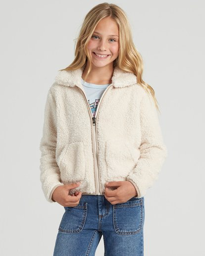 0 Girls' Warm And Cozy Polar Fleece Jacket White G6083BWA Billabong