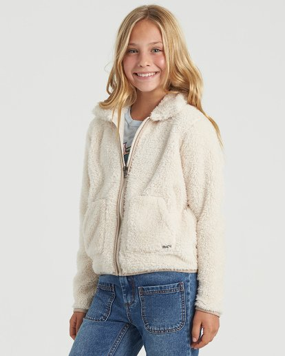 1 Girls' Warm And Cozy Polar Fleece Jacket White G6083BWA Billabong