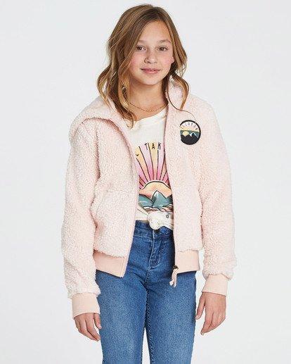 0 Girls' Cozy Town Polar Fleece Hoodie Pink G608SBCO Billabong