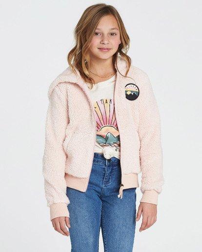 2 Girls' Cozy Town Polar Fleece Hoodie Pink G608SBCO Billabong