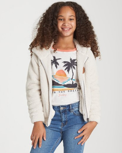 0 Girls' Snow Day 2 Fleece Jacket White G608WBSN Billabong